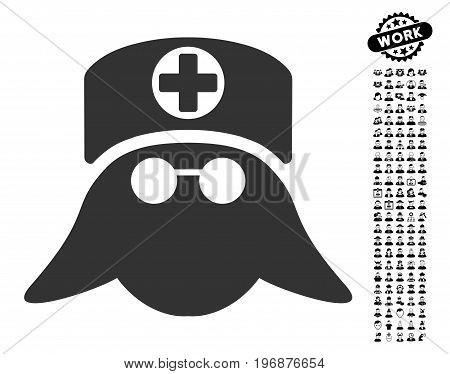 Nurse Head icon with black bonus professional symbols. Nurse Head vector illustration style is a flat gray iconic symbol for web design, app user interfaces.