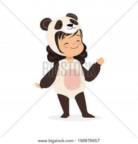 Cute happy little girl dressed as a panda, kids carnival costume vector Illustration isolated on a white background