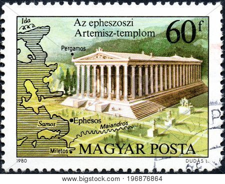 UKRAINE - CIRCA 2017: A postage stamp printed in Hungary shows Temple of Artemis Ephesos from series Seven Wonders of the Ancient World circa 1980