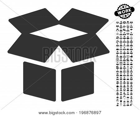 Open Box icon with black bonus professional graphic icons. Open Box vector illustration style is a flat gray iconic element for web design, app user interfaces.