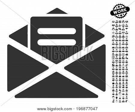 Open Mail icon with black bonus people icon set. Open Mail vector illustration style is a flat gray iconic element for web design, app user interfaces.