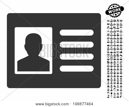 Patient Account icon with black bonus job pictures. Patient Account vector illustration style is a flat gray iconic symbol for web design, app user interfaces.