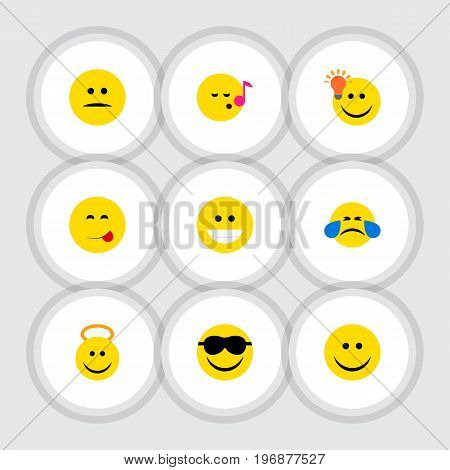 Flat Icon Face Set Of Have An Good Opinion, Happy, Delicious Food And Other Vector Objects