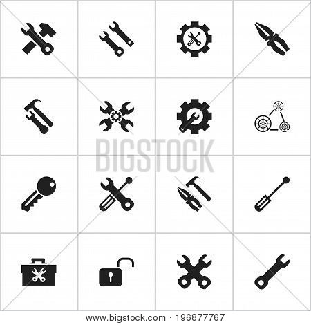 Set Of 16 Editable Mechanic Icons. Includes Symbols Such As Service, Wrench, Cambelt And More