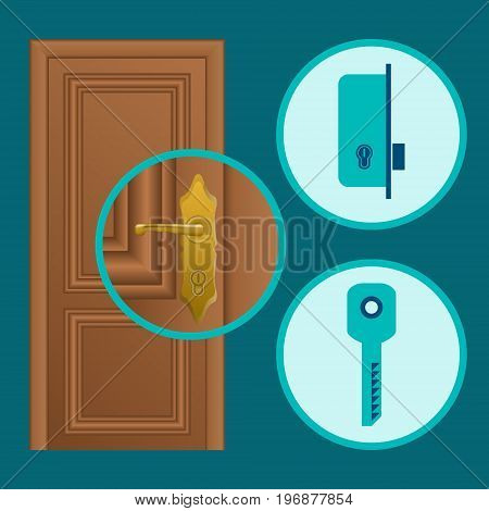 Handle installation vector concept illustration. Door lock