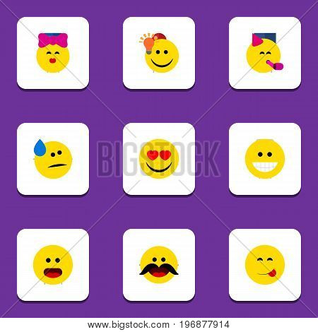 Flat Icon Face Set Of Grin, Delicious Food, Have An Good Opinion And Other Vector Objects