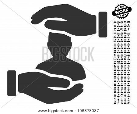 Patient Insurance icon with black bonus people design elements. Patient Insurance vector illustration style is a flat gray iconic element for web design, app user interfaces.