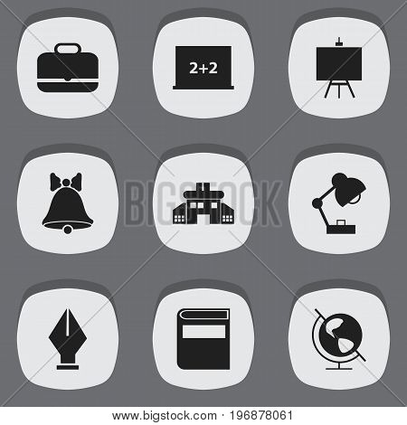 Set Of 9 Editable Education Icons. Includes Symbols Such As Literature, Nib, Lighting And More