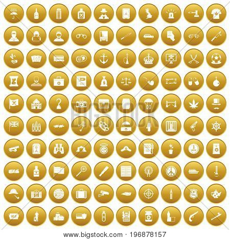 100 offence icons set in gold circle isolated on white vector illustration