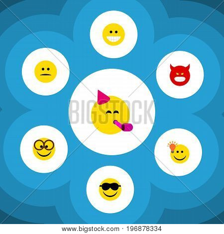 Flat Icon Gesture Set Of Happy, Party Time Emoticon, Grin And Other Vector Objects
