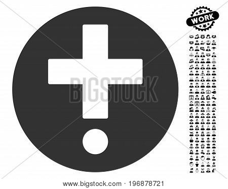 Pharmacy icon with black bonus profession pictograph collection. Pharmacy vector illustration style is a flat gray iconic symbol for web design, app user interfaces.