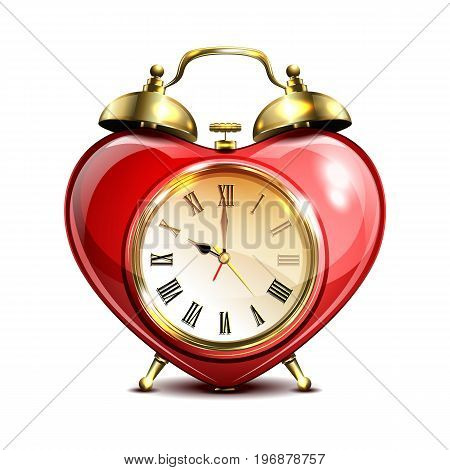 Metal retro style alarm clock in heart form on white background. Vector illustration.