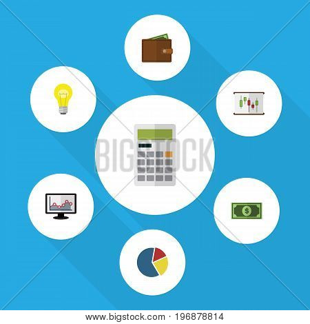 Flat Icon Incoming Set Of Greenback, Bubl, Calculate And Other Vector Objects