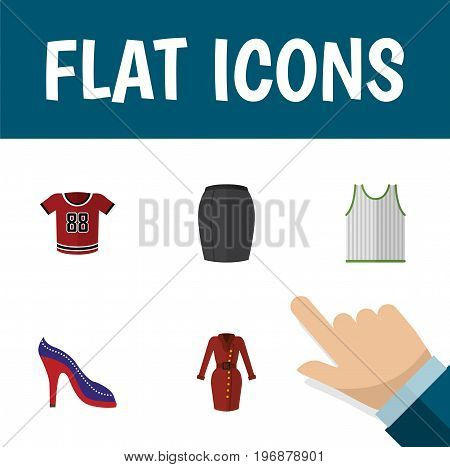 Flat Icon Dress Set Of Clothes, Singlet, Stylish Apparel And Other Vector Objects