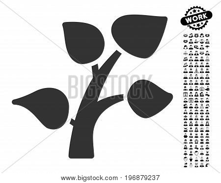 Plant Tree icon with black bonus profession design elements. Plant Tree vector illustration style is a flat gray iconic element for web design, app user interfaces.