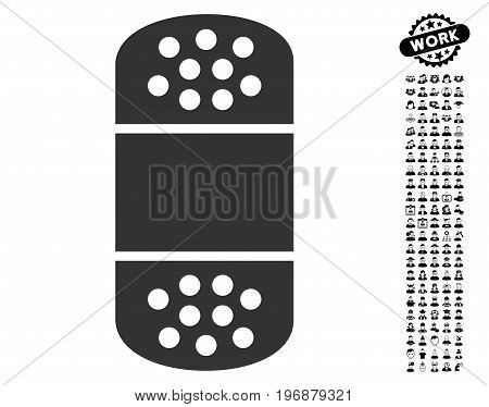 Plaster icon with black bonus people icon set. Plaster vector illustration style is a flat gray iconic element for web design, app user interfaces.
