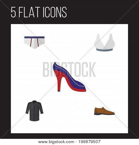 Flat Icon Clothes Set Of Underclothes, Uniform, Heeled Shoe And Other Vector Objects