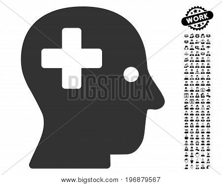 Plus Head icon with black bonus job images. Plus Head vector illustration style is a flat gray iconic element for web design, app user interfaces.
