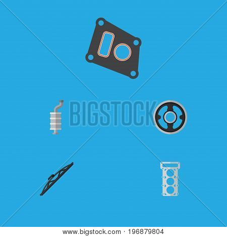 Flat Icon Parts Set Of Gasket, Packing, Belt And Other Vector Objects