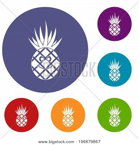 Smiling pineapple icons set in flat circle red, blue and green color for web