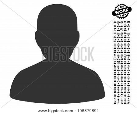 Portrait icon with black bonus profession pictures. Portrait vector illustration style is a flat gray iconic element for web design, app user interfaces.