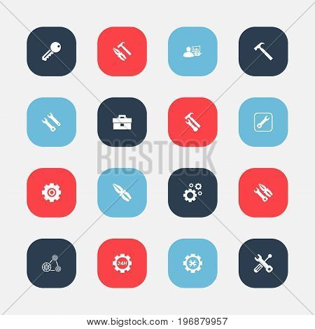 Set Of 16 Editable Toolkit Icons. Includes Symbols Such As Service, Gear, Fix Tool And More