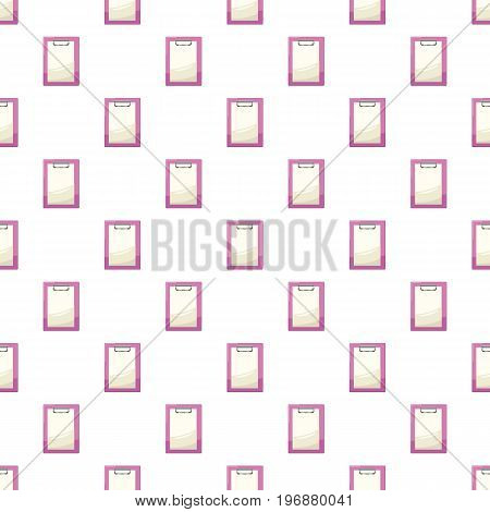 Clipboard with a blank sheet of paper pattern seamless repeat in cartoon style vector illustration
