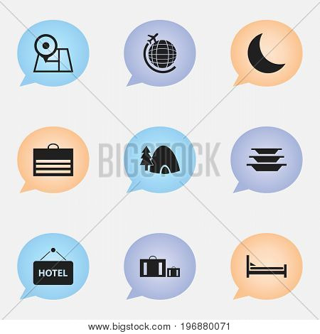 Set Of 9 Editable Journey Icons. Includes Symbols Such As Mattress, Navigation, Tabernacle And More