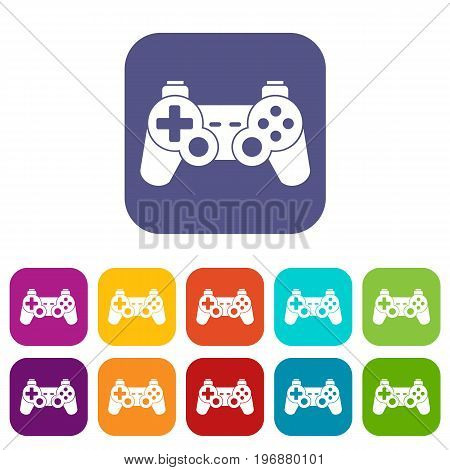 Game controller icons set vector illustration in flat style in colors red, blue, green, and other