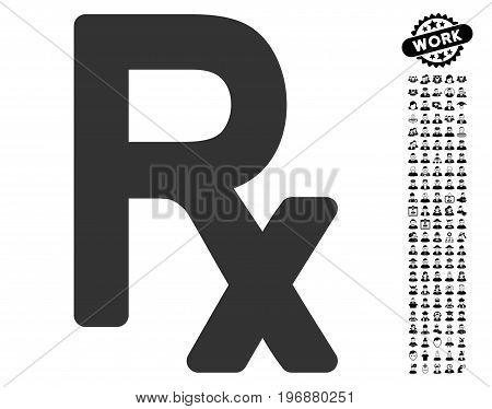 Prescription Symbol icon with black bonus people clip art. Prescription Symbol vector illustration style is a flat gray iconic symbol for web design, app user interfaces.