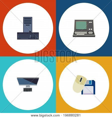 Flat Icon Computer Set Of Technology, PC, Computer Mouse And Other Vector Objects