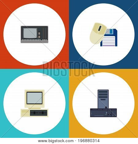 Flat Icon Computer Set Of Vintage Hardware, Processor, Computer And Other Vector Objects