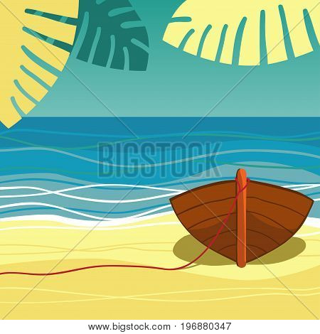 Boat on beach. The boat is on the shore of the ocean. Sea, palm trees and sand. Vector illustration.