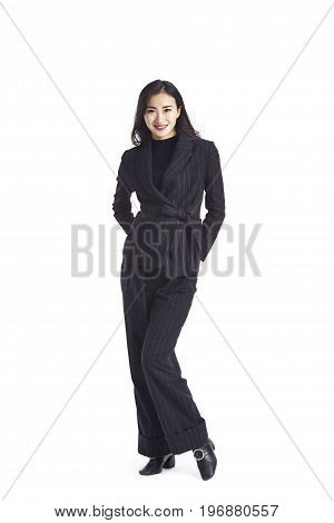 studio portrait of a young asian businesswoman in formal wear isolated on white background.