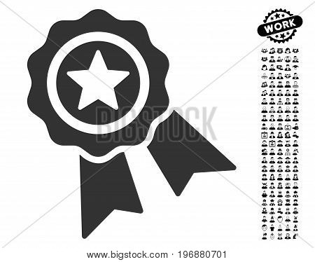 Quality Seal icon with black bonus men graphic icons. Quality Seal vector illustration style is a flat gray iconic symbol for web design, app user interfaces.