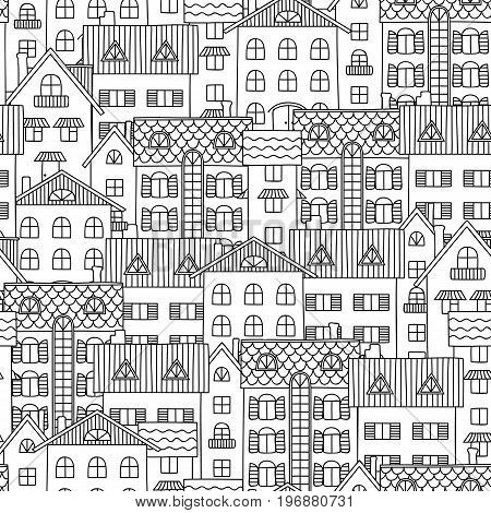 Contour seamless pattern. Black contours on white background. The house painted.