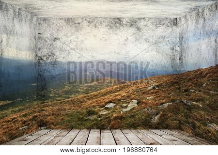 Abstract room with mountains landscape at wall background