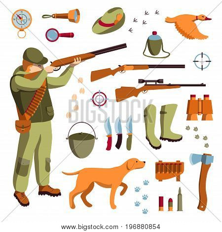 Vector set of hunting. Hunter, guns and knifes, hunting dog, duck and accessories for hunting.