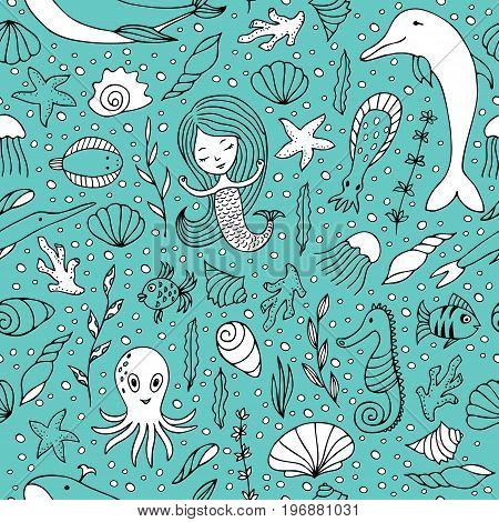 Seamless pattern marine life. Fish and other sea creatures, mermaids and shells hand-painted on a turquoise background.