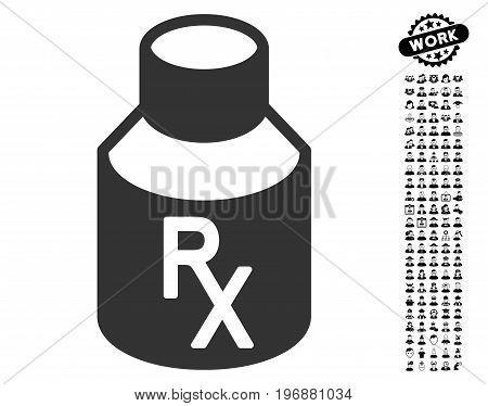 Receipt Vial icon with black bonus profession pictures. Receipt Vial vector illustration style is a flat gray iconic element for web design, app user interfaces. poster