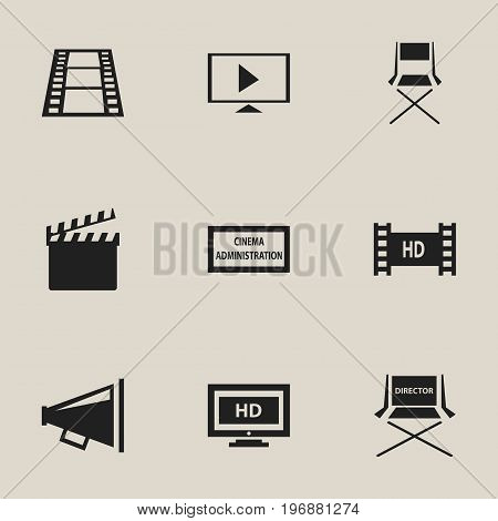 Set Of 9 Editable Filming Icons. Includes Symbols Such As Loudspeaker, Chair, Theater Agency And More