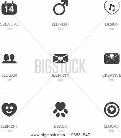 Set Of 9 Editable Love Icons. Includes Symbols Such As Happy, Dartboard, Music And More