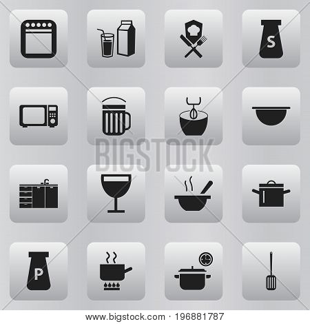 Set Of 16 Editable Restaurant Icons. Includes Symbols Such As Powdered, Furniture, Stir And More