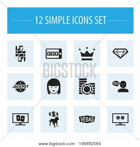 Set Of 12 Editable Excitement Icons. Includes Symbols Such As Phone Game, Gamble, Nevada And More