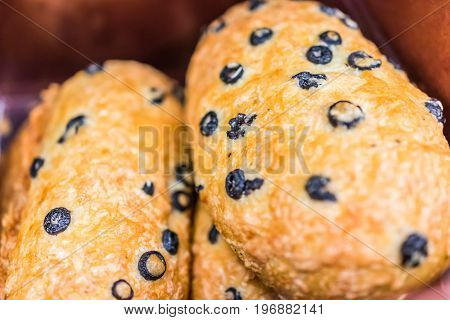 Closeup Of Olive Bread Loaves In Bakery