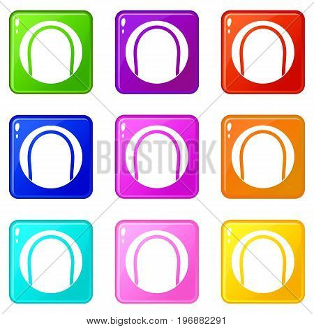 Black and white tennis ball icons of 9 color set isolated vector illustration