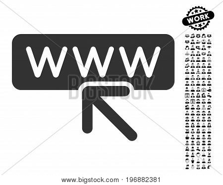 Select Website icon with black bonus men pictures. Select Website vector illustration style is a flat gray iconic symbol for web design, app user interfaces.