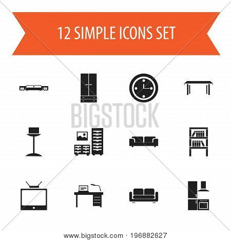 Set Of 12 Editable Interior Icons. Includes Symbols Such As Cabinet, Mattress, Cuisine And More