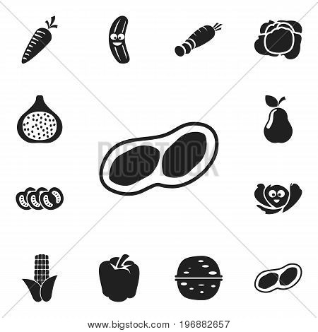 Set Of 12 Editable Food Icons. Includes Symbols Such As Maize, Duchess, Root Vegetable And More