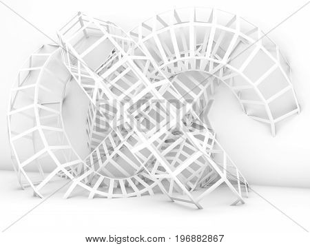 Abstract Cg Background, White Wire-frame Knot